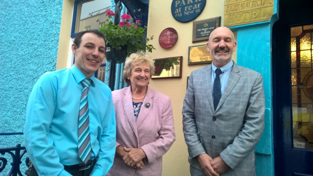 Therese White and Philippe Milloux from the Alliance Française with Ian Brennan, manager of the Clubhouse Hotel